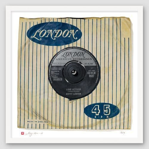 """Ketty Lester """"Love Letters"""" Print of Painted Single"""