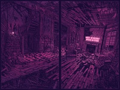 Meet in Secret, Speak in Code Diptych Purple