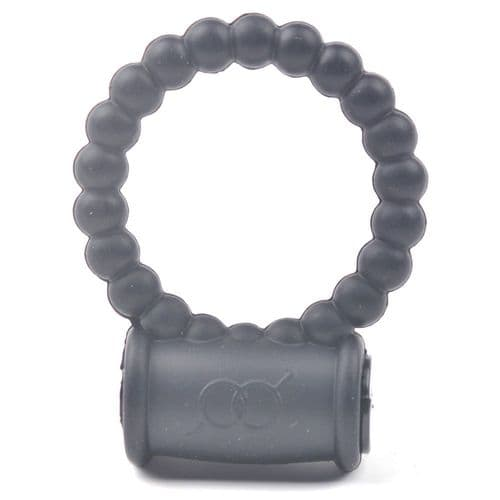 Silicone Black Beaded Vibrating Cock Ring