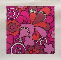 60s retro Pattern Pink Printed Fabric Panel
