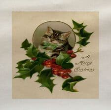 A Merry Christmas Vintage Kitten Holly Printed Fabric Panel