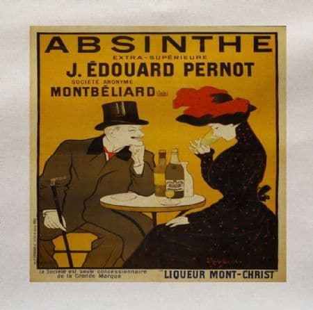 Absinthe Frech Drink Advert Printed Fabric Panel