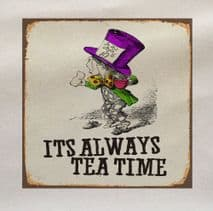 Alice In Wonderland Mad Hatter Tea Time Fabric Panel