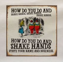 Alice In Wonderland tweedledee tweedledum Shake Hands Fabric Panel