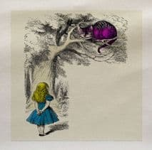 Alice Wonderland Cheshire Cat colour Fabric Panel (1)