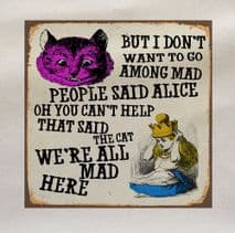 Alice Wonderland Mad People Fabric Panel