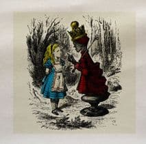 Alice Wonderland Queen Colour Fabric Panel