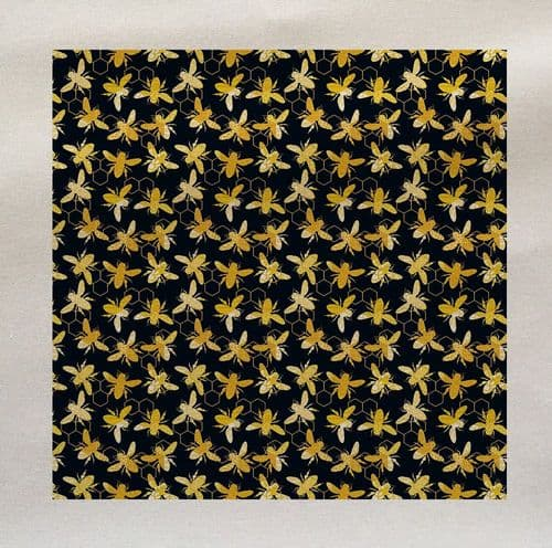 Bee Flying Insect Black Yellow Pattern Fabric Panel