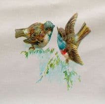 Birds Watercolour Painting  Printed Fabric Panel