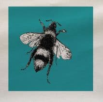 Blue Bee Insect Fabric Panel