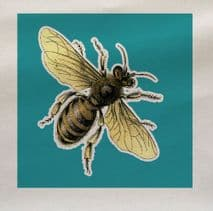 Blue Bee Wasp Insect Fabric Panel