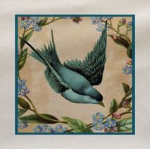 Blue Bird Flowers Fabric Panel