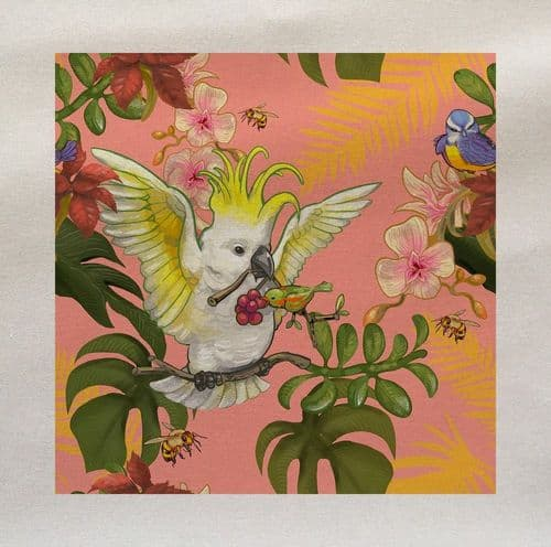 Bright Tropical Parrot Cockatoo Floral Flowers Leaves Rainforest Pattern Plant Fabric Panel