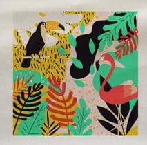 Bright Tropical Toucan Flamingo Leaf Leaves Rainforest Pattern Plant Fabric Panel