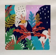 Bright Tropical Toucan Leaf Leaves Rainforest Pattern Plant Fabric Panel