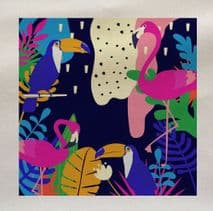 Bright Tropical Toucans & Flamingos Leaf Leaves Rainforest Pattern Plant Fabric Panel