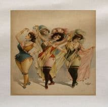 Burlesque Dancers Pin Up Girls Printed On Fabric Panel
