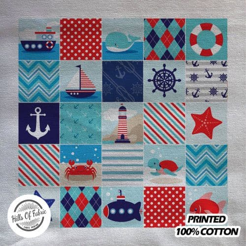 Cartoon Boat Ship Transport Patchwork Ocean Beach Sea Printed Fabric Panel