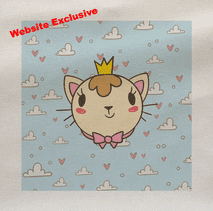 Cat Head Crown Sky Clouds Printed Fabric Panel