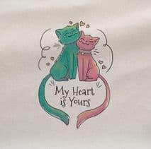 Cat My Heart Is Yours In Love Printed Fabric Panel