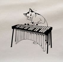 Cats Xylophone Vintage Illustration Printed Fabric Panel