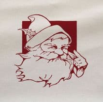 Christmas Red Santa Pointing Printed On Fabric