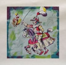 Circus Clown Horse Printed Fabric