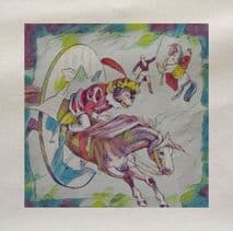 Circus Horse Monkey  Printed Fabric (1)