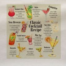 Classic cocktail Recipes Drink Fabric Panel