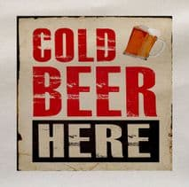 Cold Beer Here Drink Fabric Panel
