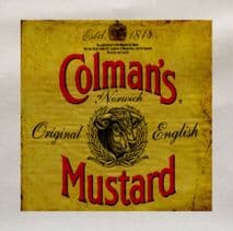 Colmans Mustard Yellow Printed Fabric Panel