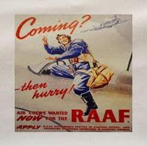Coming? Then Hurry RAAF Plane World War Printed Fabric