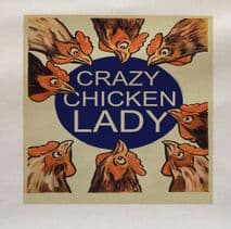 Crazy Lady Chicken Hens Fabric Panel