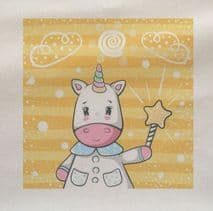 Cute Baby Unicorn Wand Printed Fabric Panel