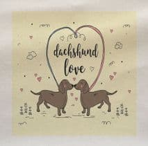 Dachshund Love Puppy Dog Sausage dog Printed On Fabric Panel