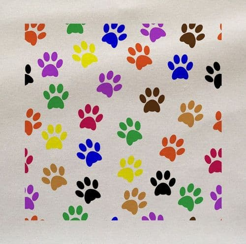 Dogs Pets Paws Print Multi coloured  Fabric Panel