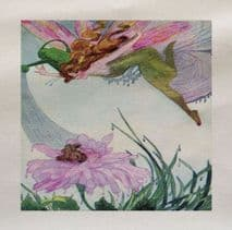 Flower Fairy Watering Can Vintage Fabric Panel