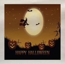 Happy Halloween Grave Yard Pumpkins Moon Bats Witch Printed Fabric Panel