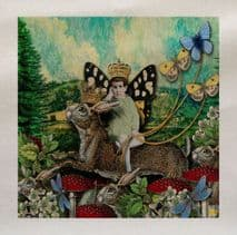 Hare Fairy Butterfly Woodland Animal Head Fabric Panel
