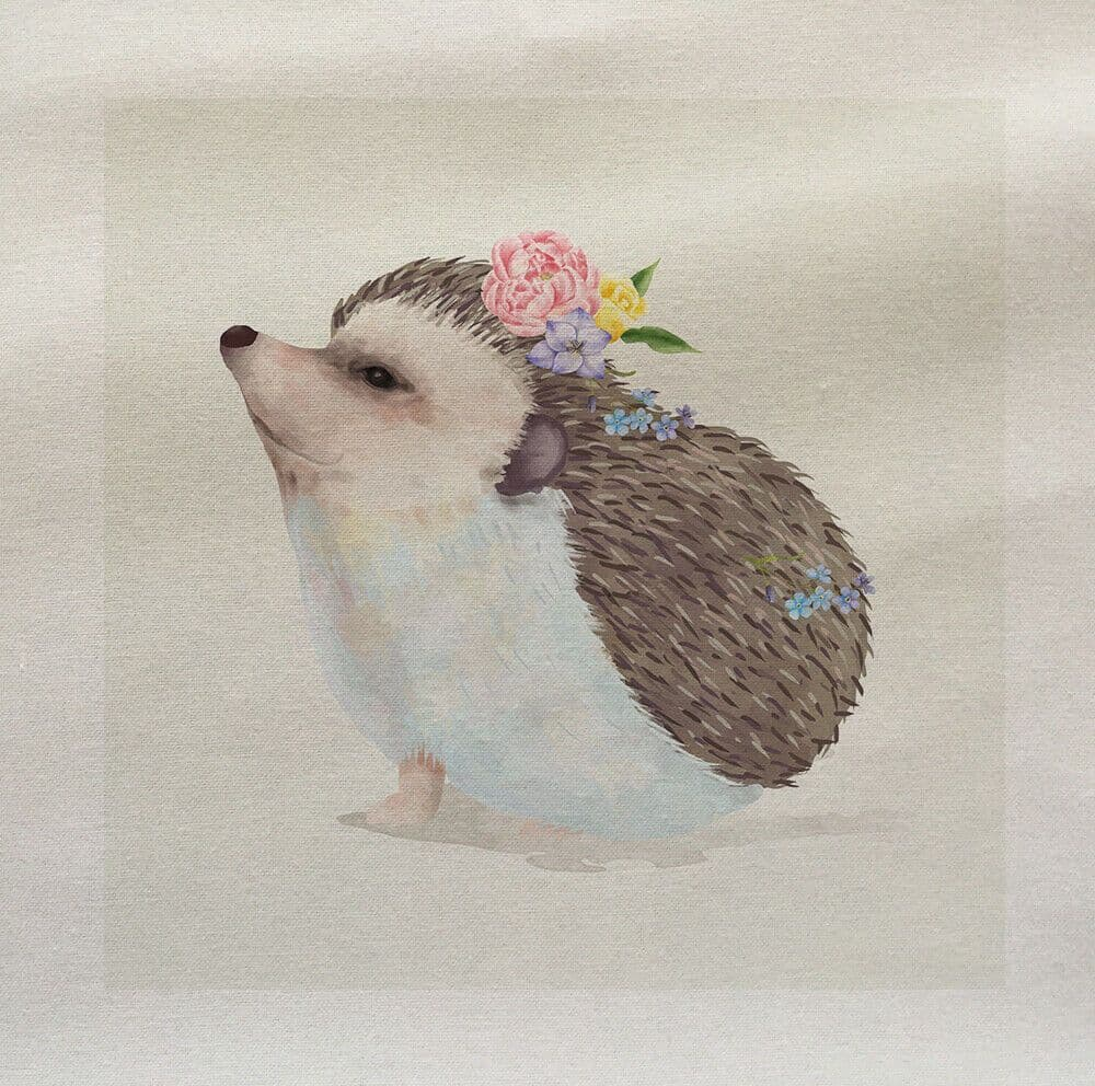 Hedgehog Floral Country Cute Printed Fabric Panel