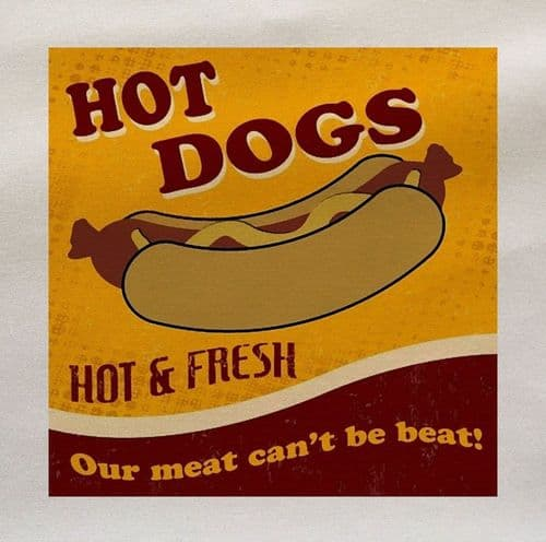 Hot Dogs Hot & Fresh Our meat can't be Beat Retro Food Fabric Panel