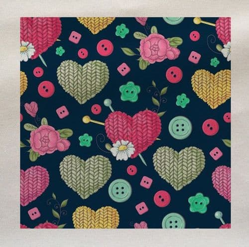 Knitting Heart Love Buttons Crafting Pattern Fabric Panel