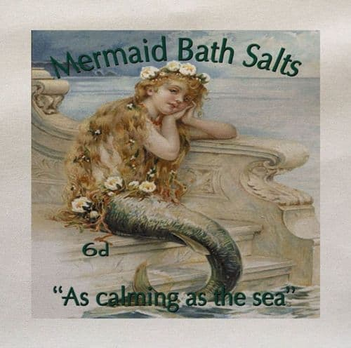 Mermaid Bath Salts Advery As Calming as The Sea Ocean Mythical Printed Fabric Panel