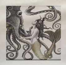 Mermaid Octopus Under the sea Ocean Mythical Printed Fabric Panel