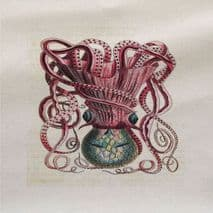 Octopus Illustration Front Pink - Fabric Panel