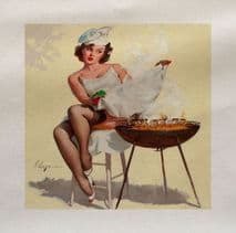 Pin Up Girl BBQ Printed Fabric Panel
