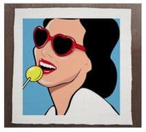 Pop Art Woman Glasses lolly pop - Printed Fabric Panel