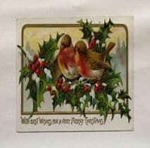 Robin Holly Christmas Printed On Fabric