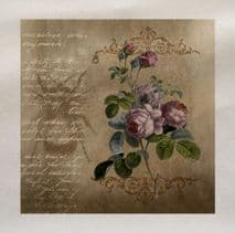 Rose Flowers Vintage Bee Flying Insect Fabric Panel