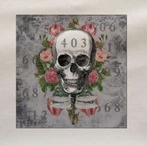 Skull and Roses Printed Fabric Panel